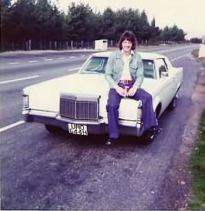Graham somewhere on the road somewhere in Sweden with his Lincoln Continental